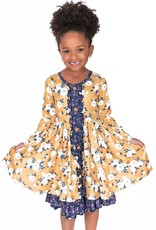Charlies Project Navy Mustard Vintage Twirl Dress