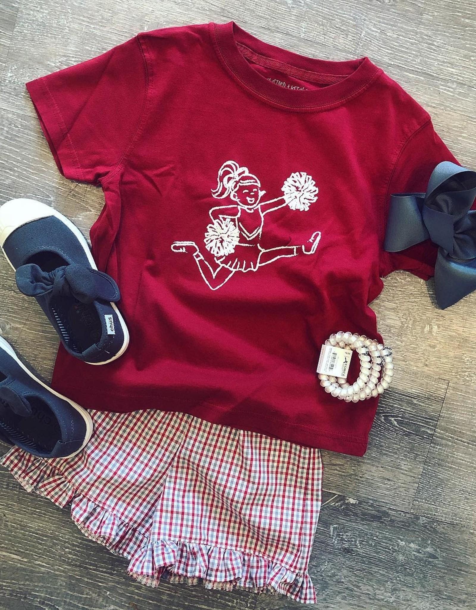Mustard&Ketchup Kids Crimson/White Cheerleader T-Shirt