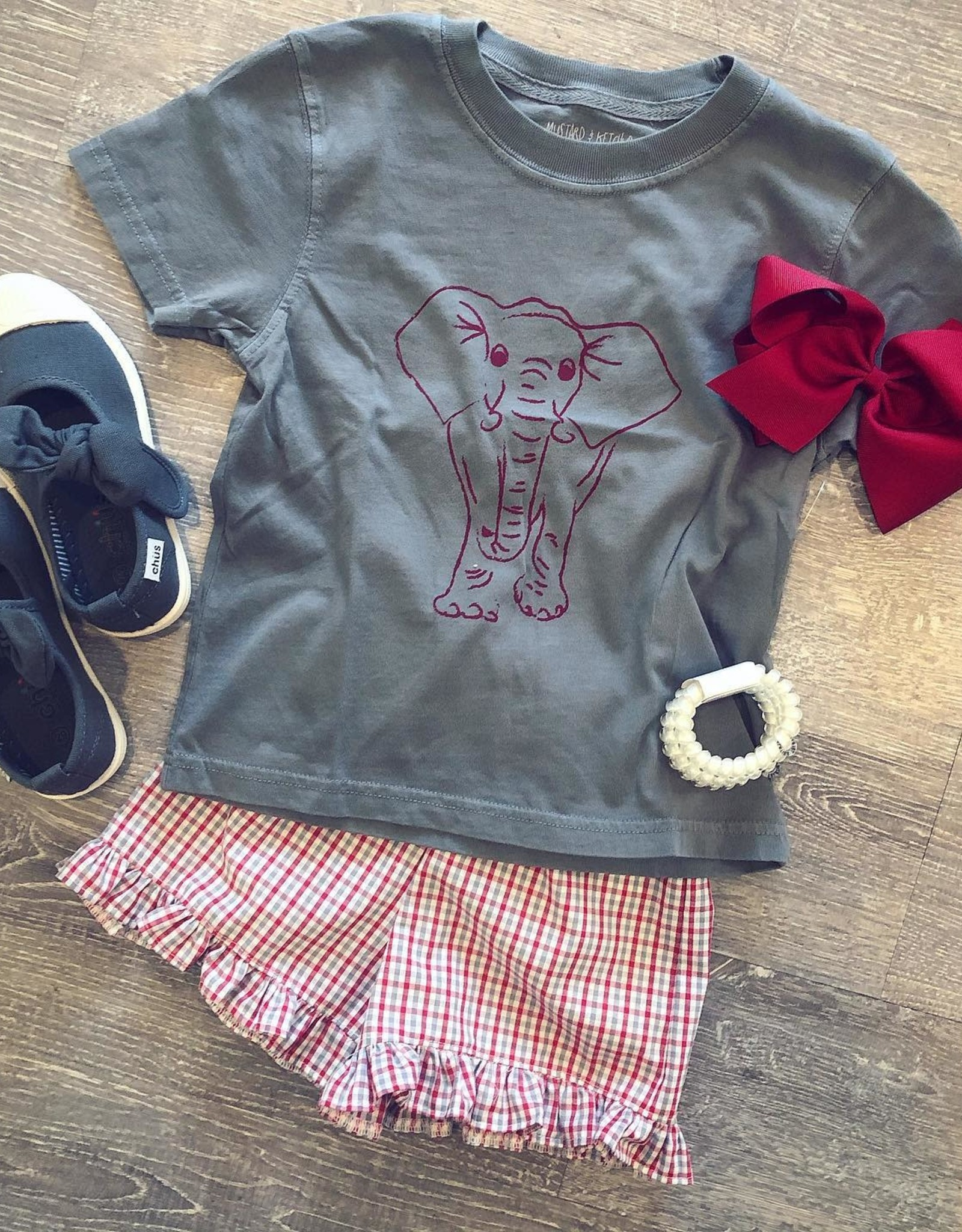 Mustard&Ketchup Kids Gray/Crimson Elephant T-Shirt