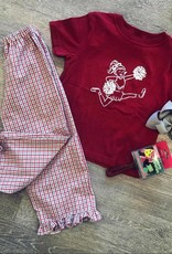 Mustard&Ketchup Kids Crimson/Gray Gingham Ruffle Pants