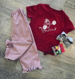 Mustard&Ketchup Kids Crimson/Gray Gingham Ruffle Pants