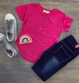 Angie Hot Pink Pocket Tee