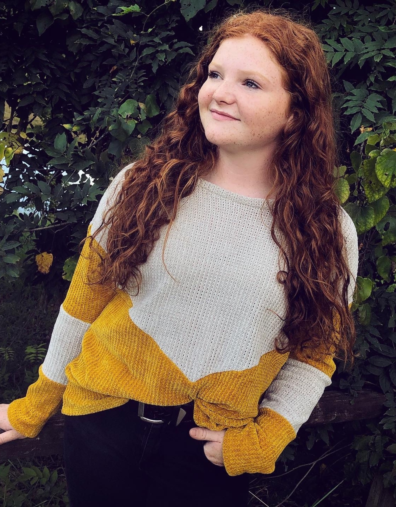 Leah Crushed Velvet Sweater in Mustard