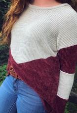 Leah Crushed Velvet Sweater in Burgundy
