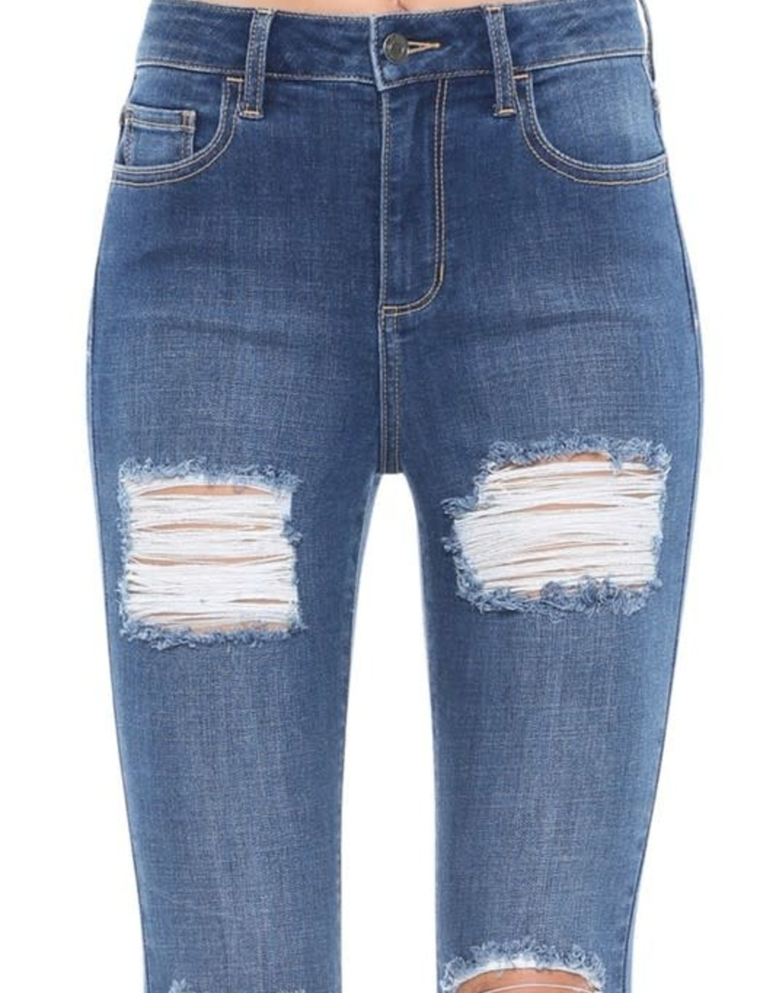 Cello High Rise Distressed Crop Skinny