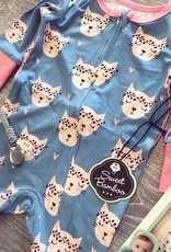 Sweet Bamboo Zipper Romper in Hippy Kitty