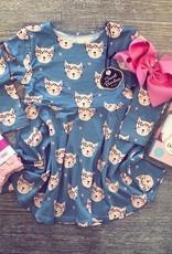 Sweet Bamboo Swirly Girl Dress in Hippy Kitty