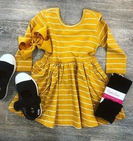 RuffleButts Golden Yellow Stripe Twirl Dress