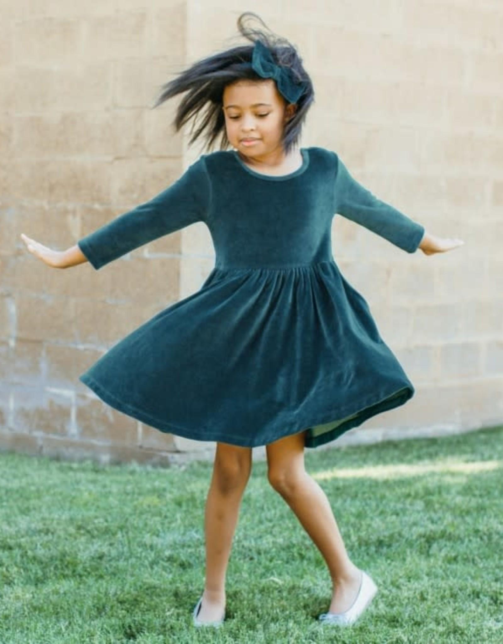 RuffleButts Ethereal Blue Velour Twirl Dress
