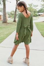 RuffleButts Moss Twirl Dress w/Harvest Rainbow Stripe Ruffle Leggings