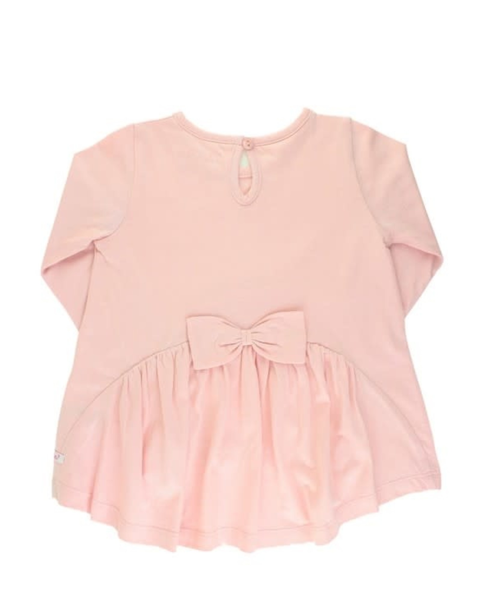 RuffleButts Ballet Pink Long Sleeve Bow Back Top