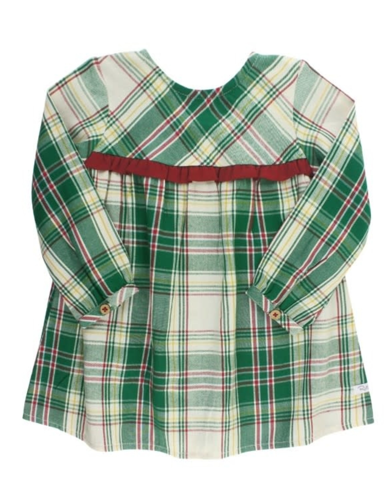 RuffleButts Hollis Plaid Ruffle Button Back Dress