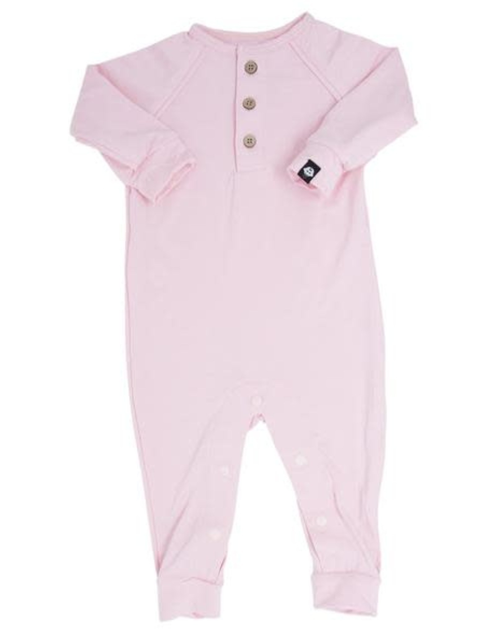 Sweet Bamboo Long Romper c/ Front Placket - Baby Pink Solid