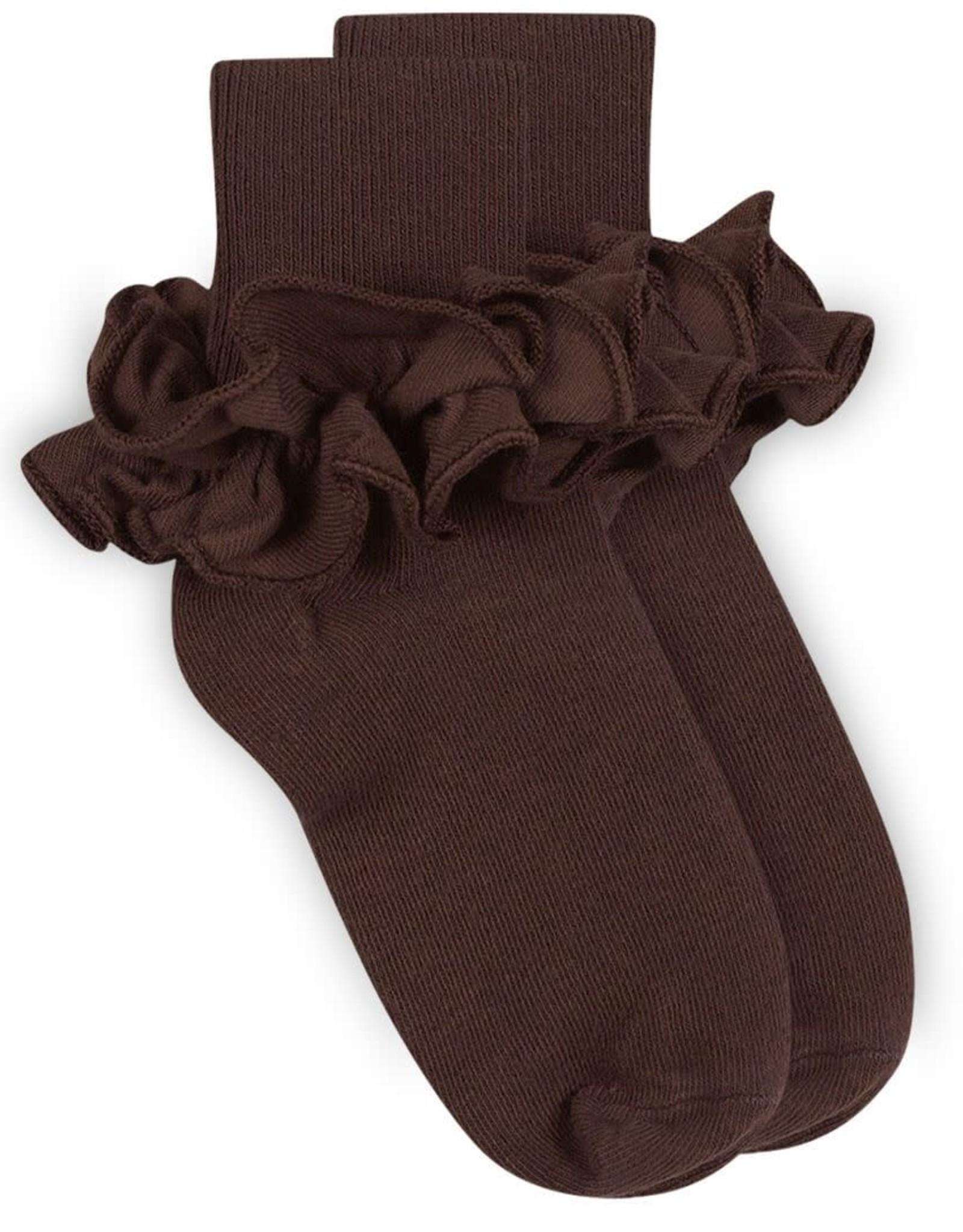 Jefferies Socks Brown Ruffle Socks