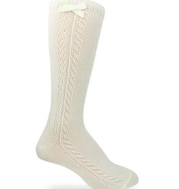 Jefferies Socks Pointelle Bow Knee High Socks in Ivory