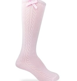 Jefferies Socks Pointelle Bow Knee High Socks in Pink