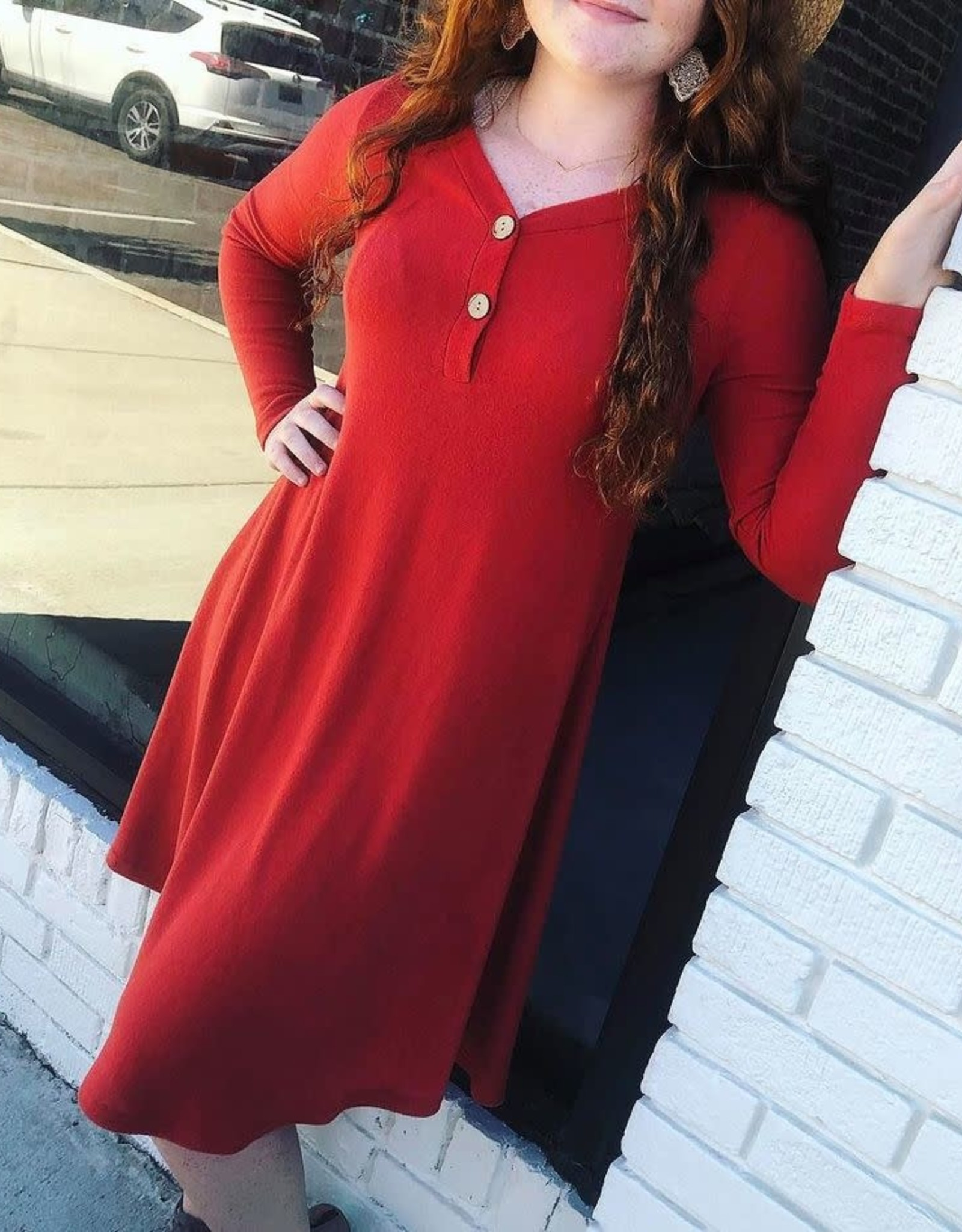 Rust Button Dress