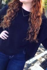 Drop Shoulder Sweater in Black