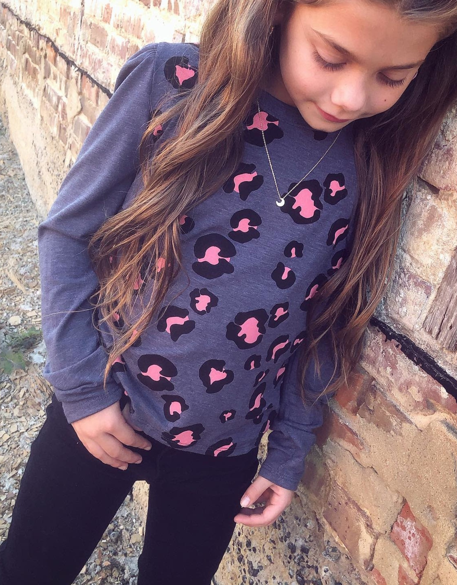 For All Seasons Josie Top in Pink  Leopard