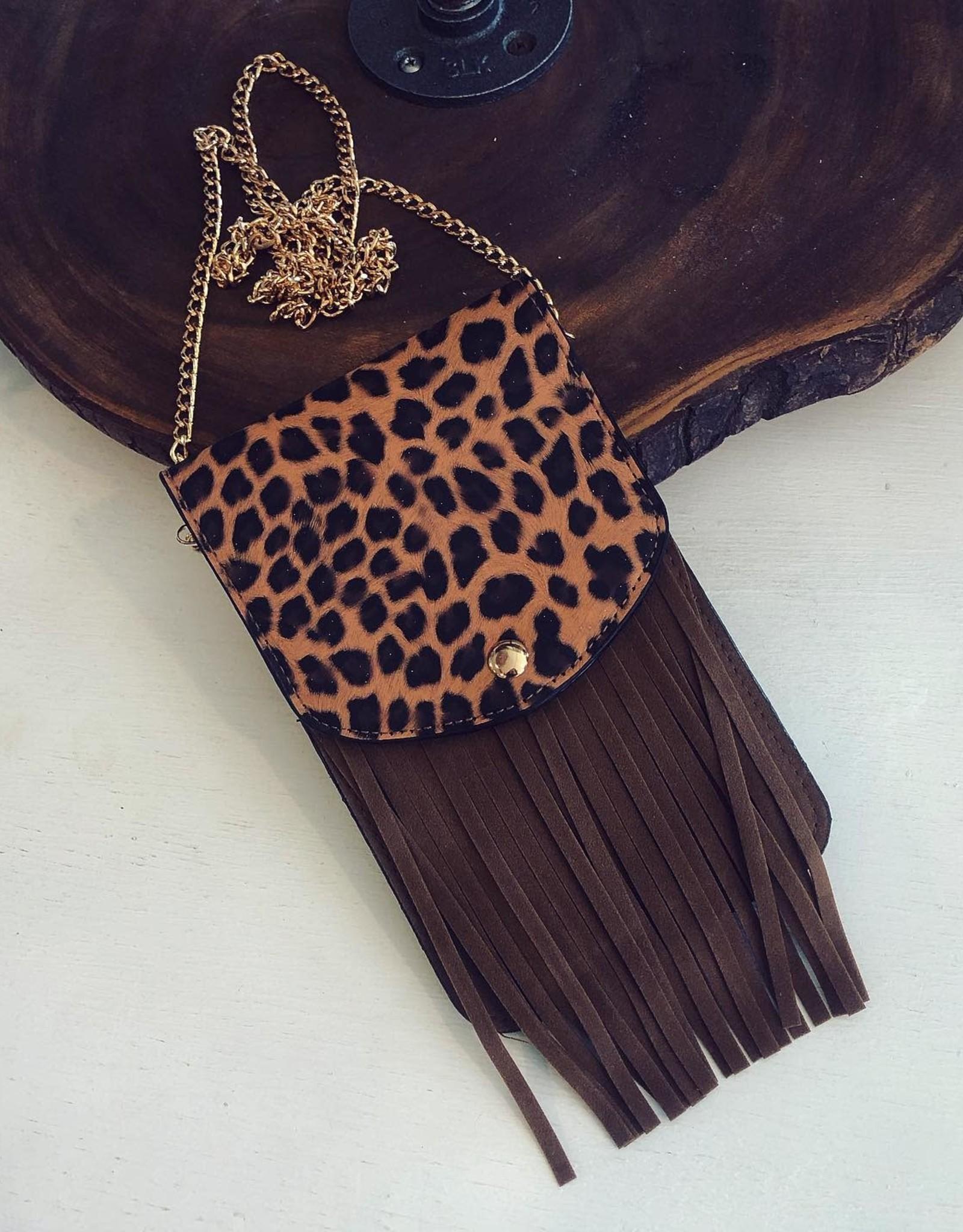Leopard Fringe Crossbody
