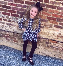 RuffleButts Black & White Plaid High Low Top W/Black Ruffle Leggings