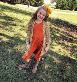 RuffleButts Orange Spice Ribbed Twirl Dress