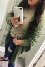 Katie Waffle Knit Cardigan in Sage