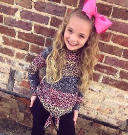 G to G Sally Leopard ColorBlock Top