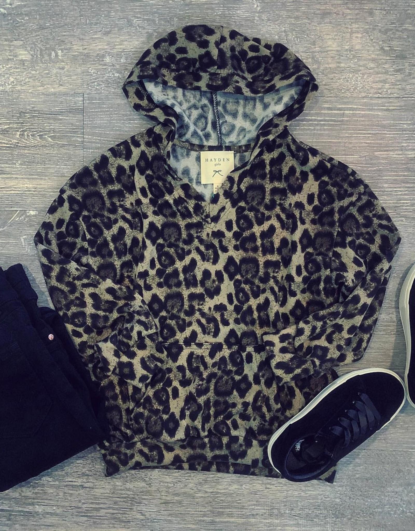 Hayden Leopard V Neck Hoodie