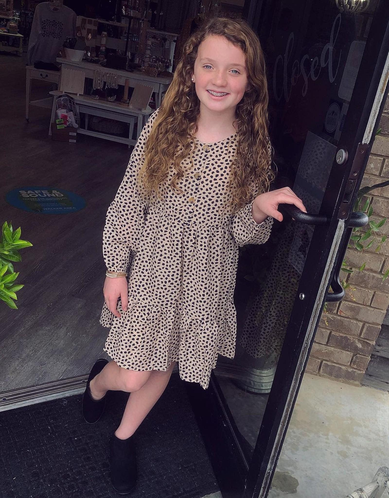 Hayden Long Sleeve Leopard Button Mini Dress