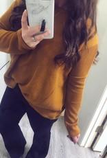 Drop Shoulder Sweater in Mustard