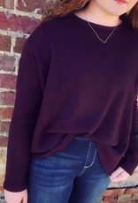 Drop Shoulder Sweater in Plum