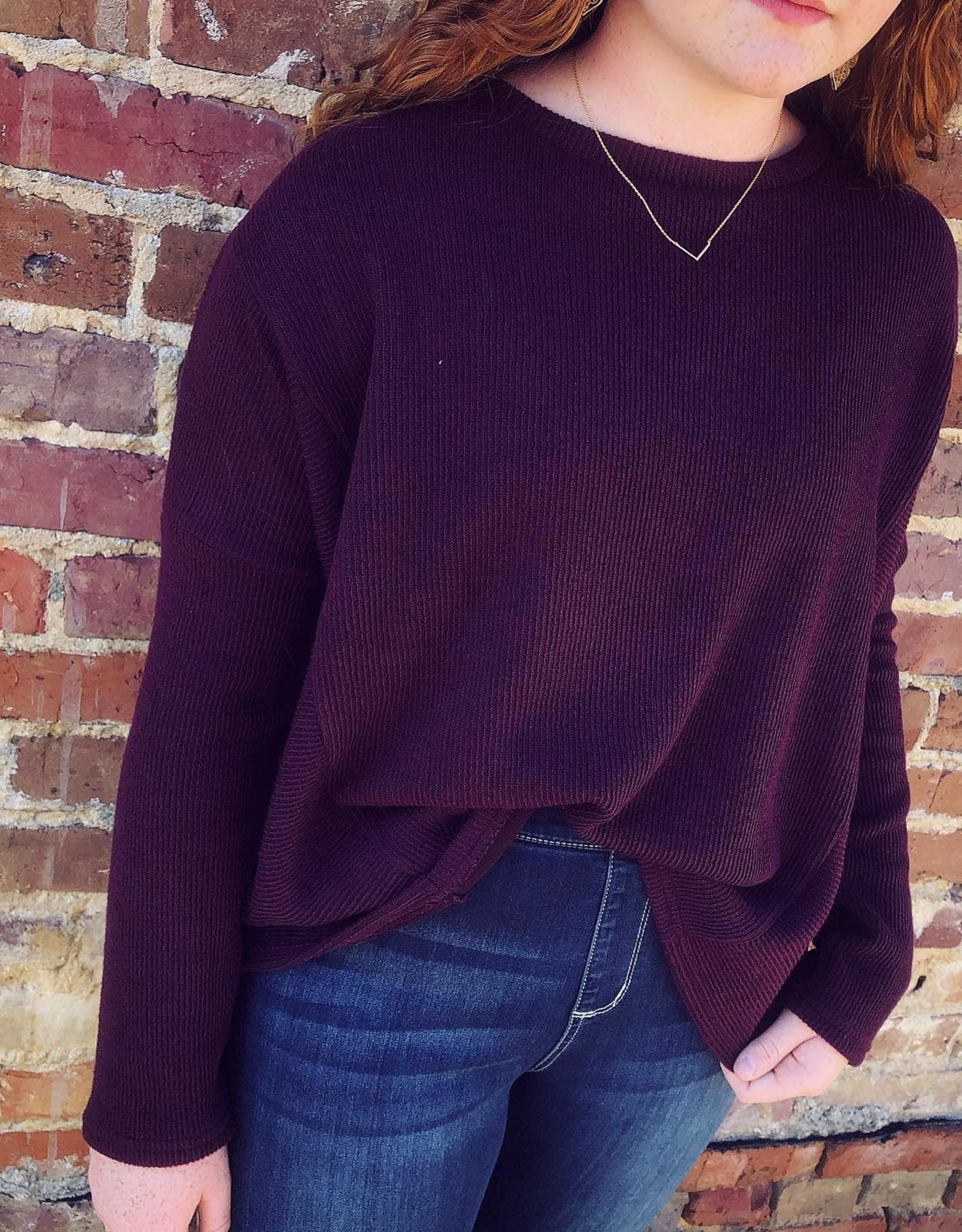 Drop Shoulder Sweater in Plum