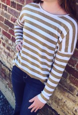 Drop Shoulder Stripe Knit Top in Mustard