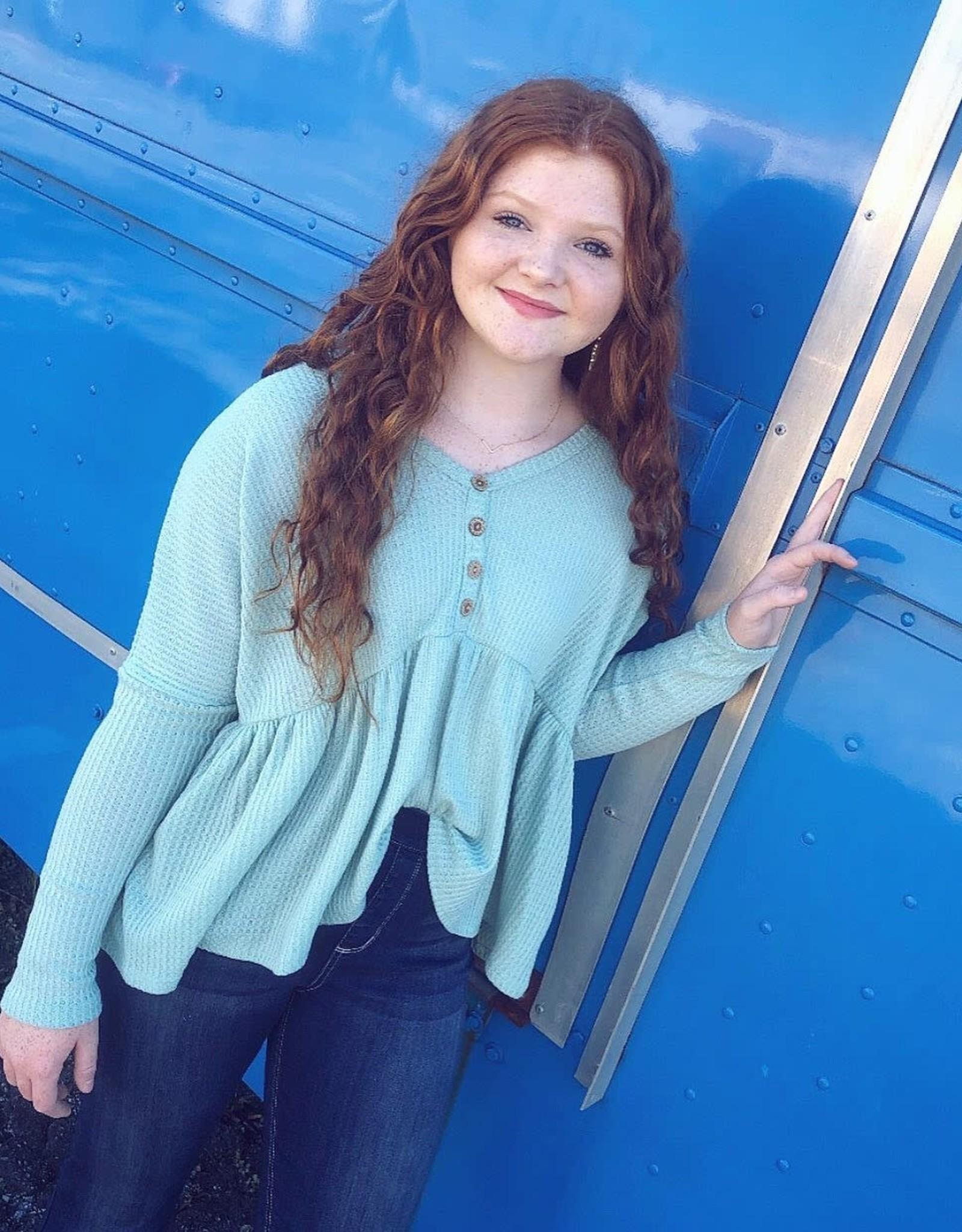 Madison Waffle Knit Longsleeve in Sage