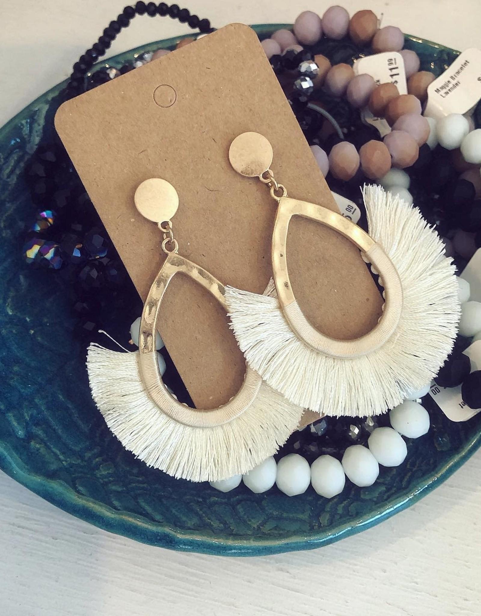 Wrapped Tassel Earring in Ivory