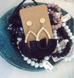 Wrapped Tassel Earring in Black