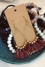 Leather Tassel Earring in Burgundy