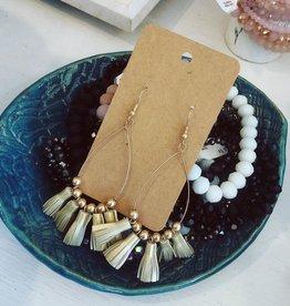 Leather Tassel Earring in Gold
