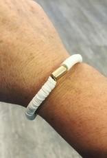 Rubber Bead Bracelet in White