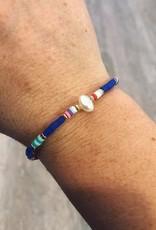Single Pearl Bracelet in Blue