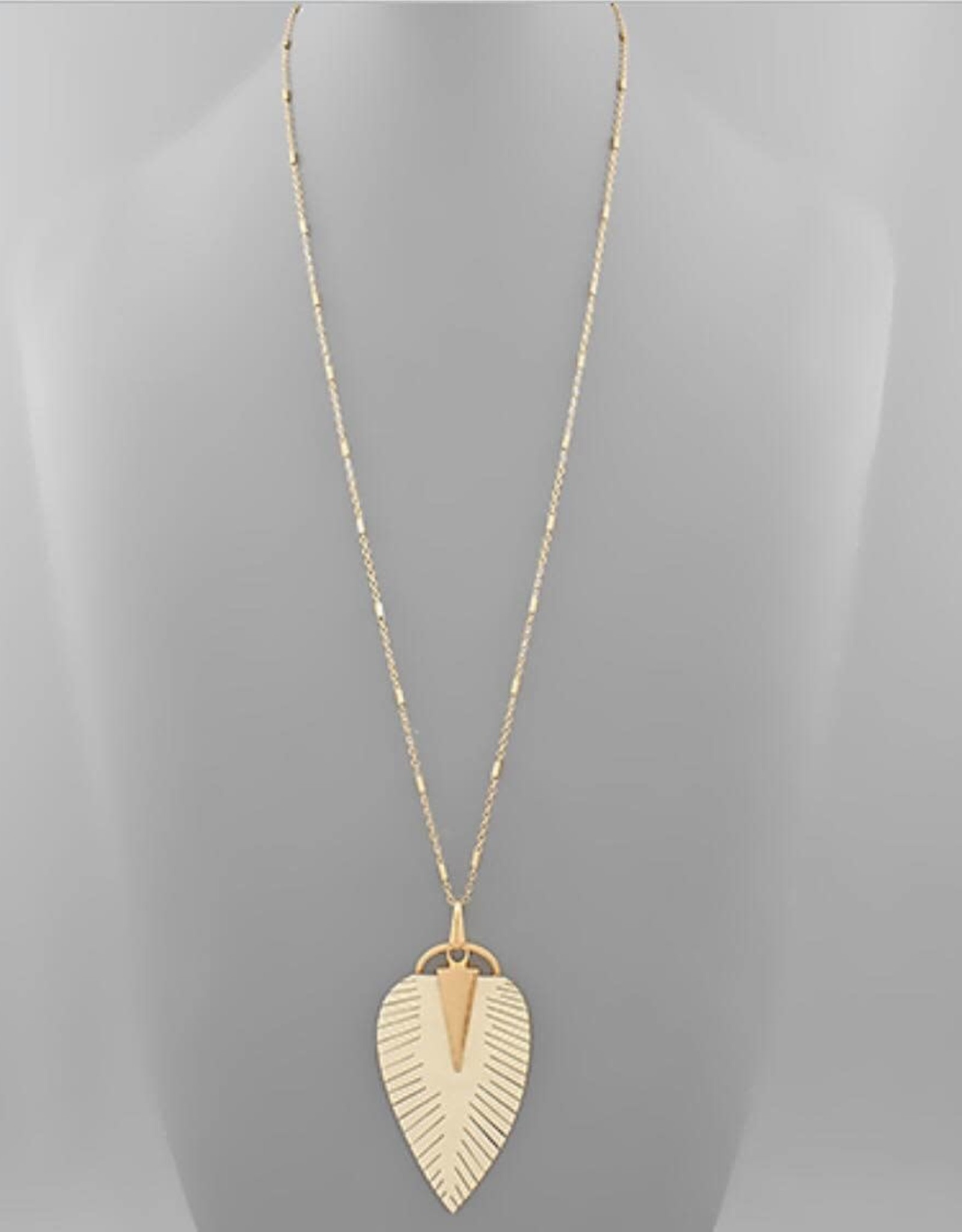 Leather Leaf Necklace in Ivory