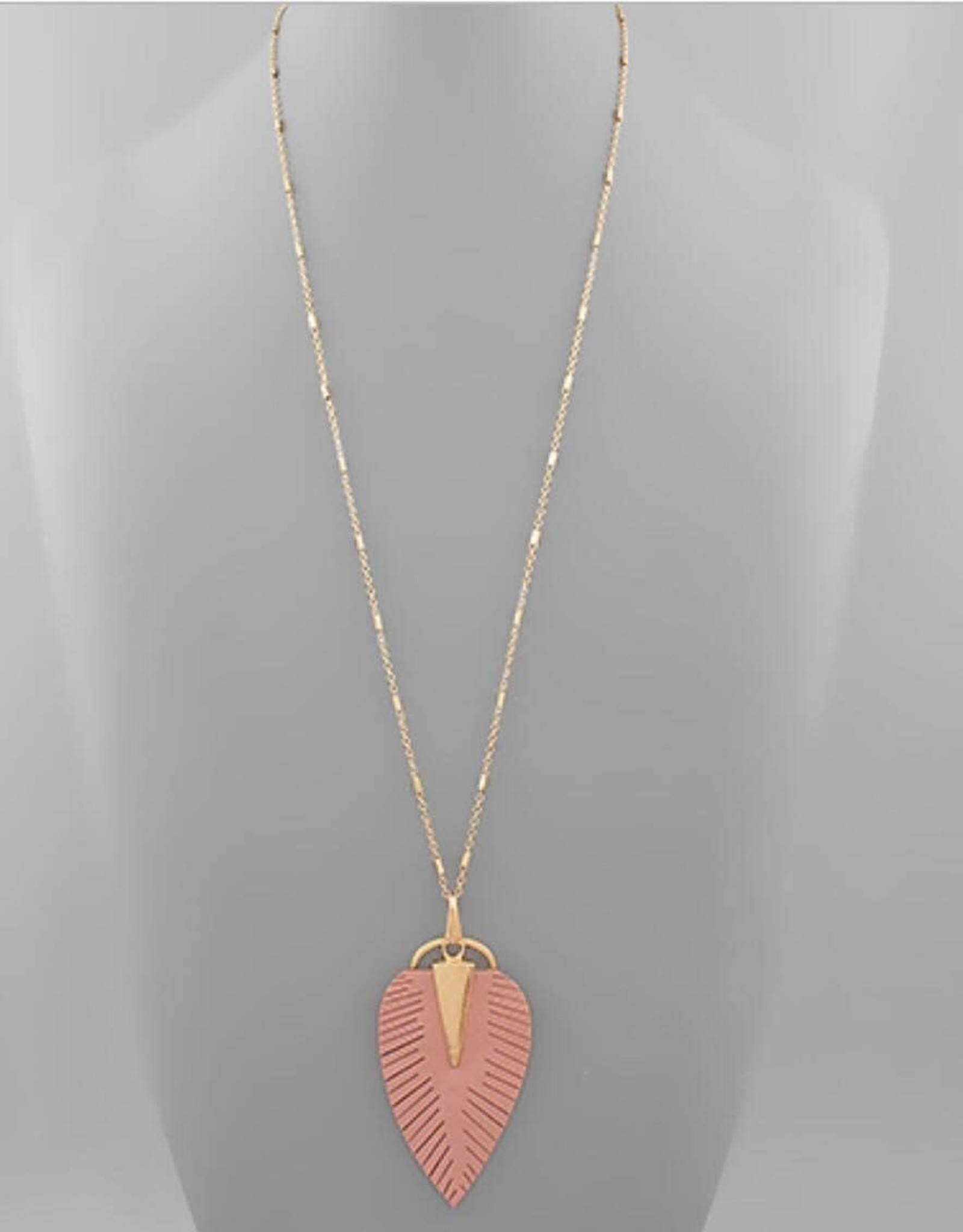 Leather Leaf Necklace in Rose
