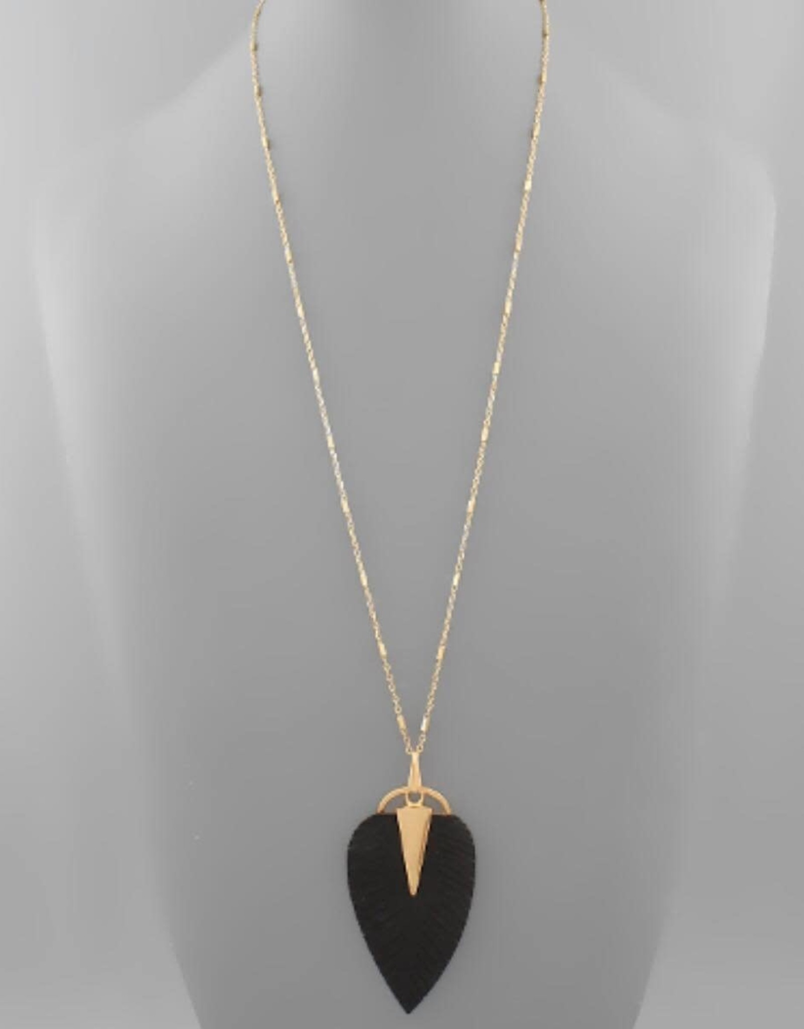 Leather Leaf Necklace in Black