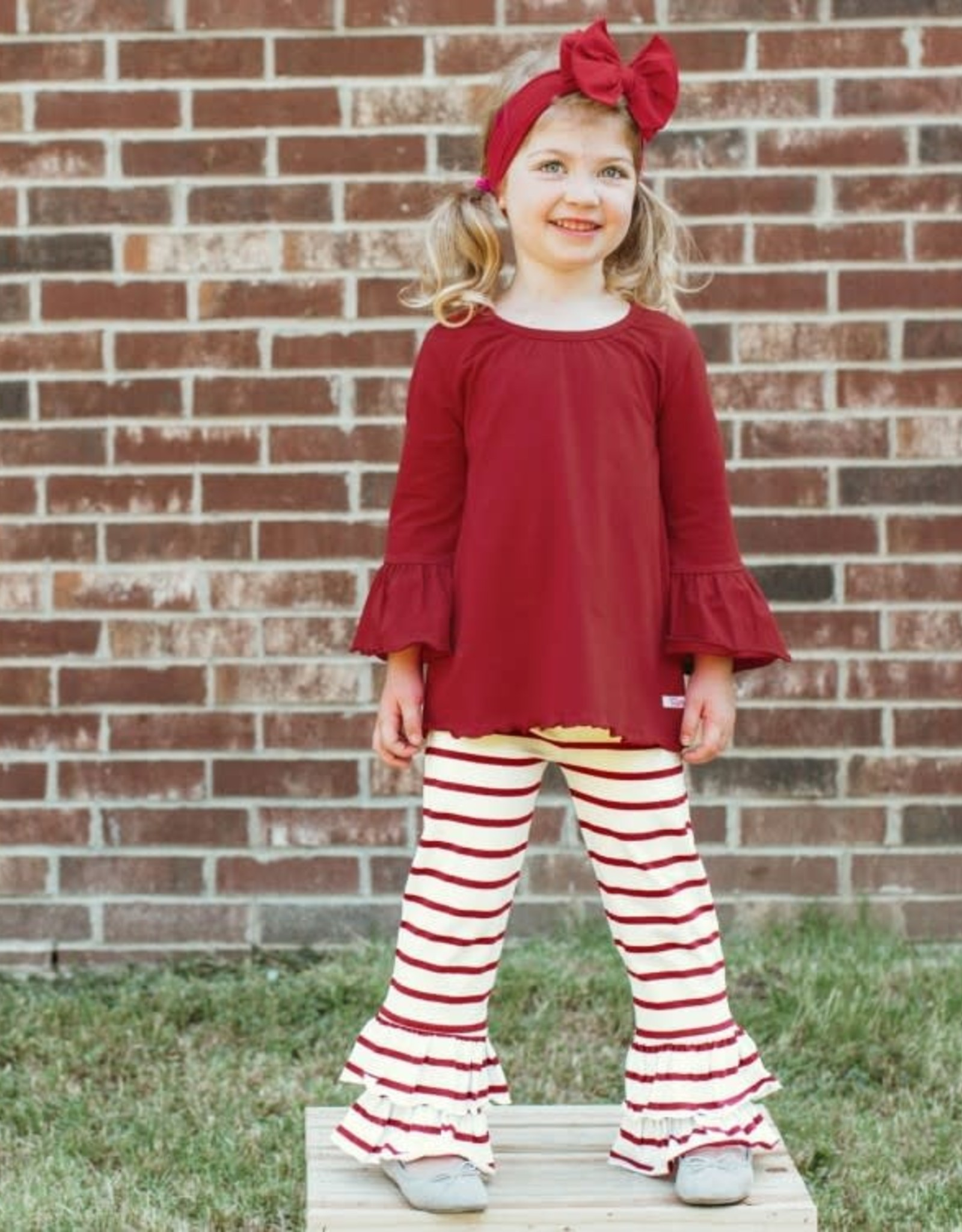 RuffleButts Cranberry Belle Top W/White&Cranberry Stripe Ruffle Pants