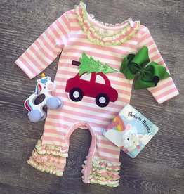 Honeydew Christmas Car Pink Romper