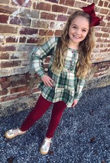 RuffleButts Hollis Plaid Tiered Henley Top W/ Cranberry Ponte Pants