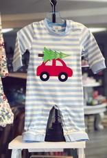 Honeydew Christmas Car Blue Romper