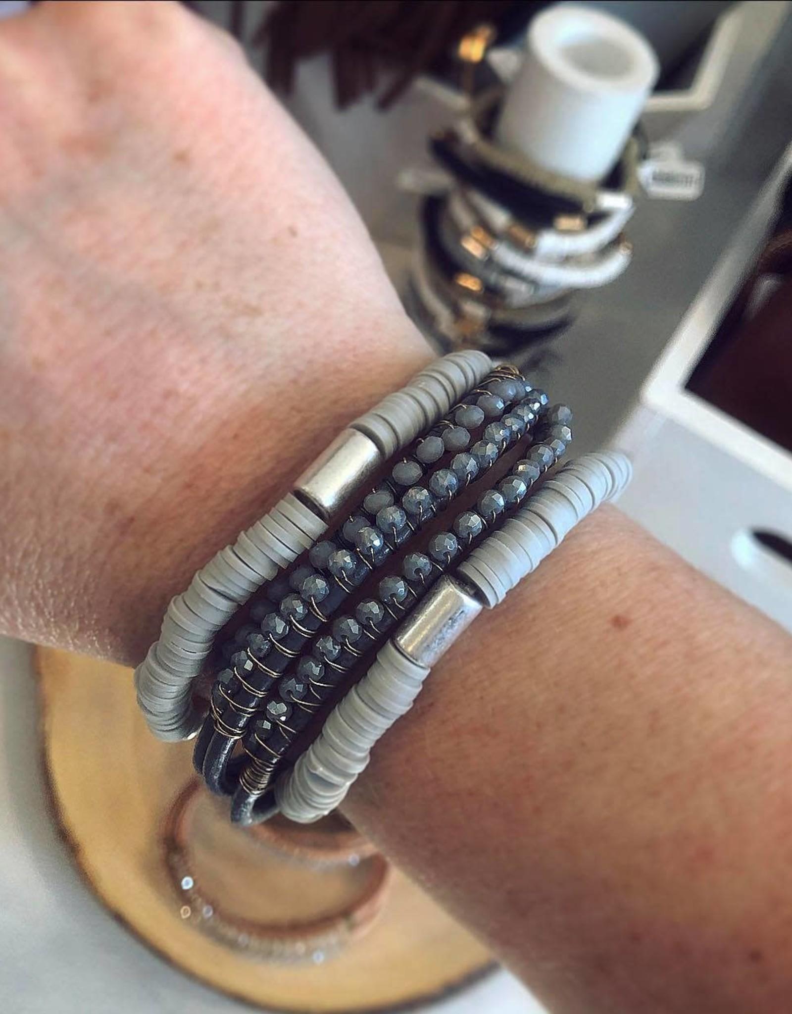Rubber Bead Bracelet in Gray