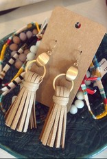 Leather Tassel Earring in Natural